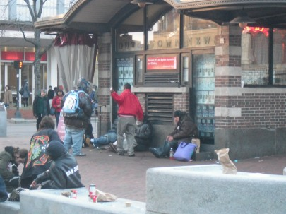 Homeless outside of Harvard University's gates.