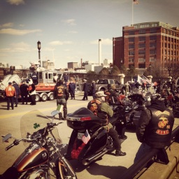 Stephen McDow taking a look at USMC bikers at Boston's St. Patrick's Day Parade.