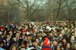 Took a cool crowd shot at President Clinton's Inauguration