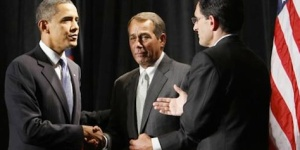 President Obama, Speaker Boehner, and Majority Leader Cantor (left-to-right).