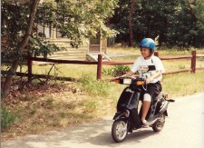 Stephani Riding a Scooter